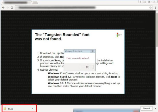 Fig 4. Pop up window with instructions and downloads malicious ZIP file